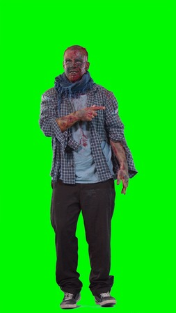 Halloween theme horrible scary zombie in clothes dance and want to catch you isolated over green screen background