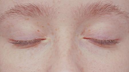 close up beautiful blue eye opening human iris macro natural beauty