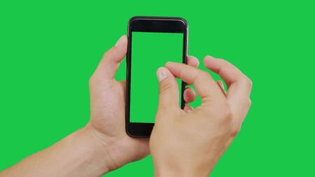 Zooming In Smartphone Green Screen. Pointing Finger Clicking On Phone Screen with Green Background. Use in any project that depicts finger, gesture, touchscreen and the like. Stok Fotoğraf