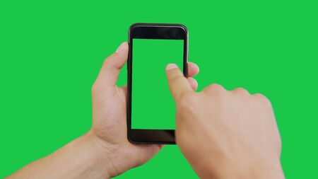 Finger Swipes Right Smartphone Green Screen. Pointing Finger Clicking On Phone Screen with Green Background. Use in any project that depicts finger, gesture, touchscreen and the like.