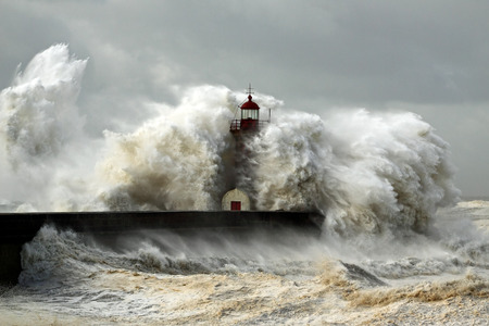 Entry of Douro River harbor on the first big storm of the year; Wind gusts reach 140/150 Kms; photo taken on Jan. 19, 2013. Archivio Fotografico