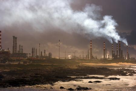 Big oil refinery near the sea
