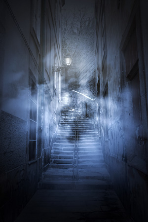 Vecchio vicolo europeo di notte, nella nebbia e spaventoso Archivio Fotografico - 29458690
