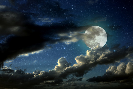 Illustration of an interesting full moon in a starry night with some clouds illustration