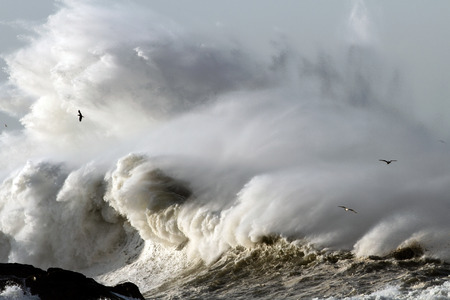 Big stormy waves crashing over Portuguese Coast Stock Photo