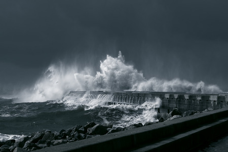 Moody seascape. Storm at the Douro river mouth.