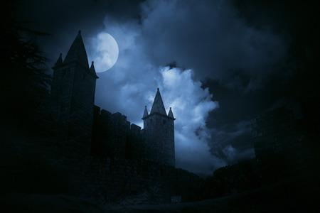 lleno: Castillo medieval misterioso en la luna llena de niebla. Alta algo de ruido digital.