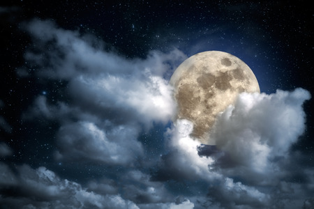 moon  light: Illustration of an interesting full moon in a cloudy night Stock Photo