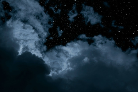 dark cloud: Night background with clouds and stars