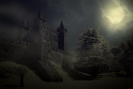 보름달 밤에 신비한 중세 성 스톡 콘텐츠 - 29990722