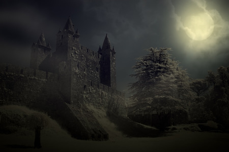horror castle: Mysterious medieval castle in a full moon night