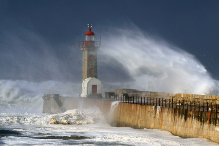 Lighthouse under heavy storm but with beautiful daylight