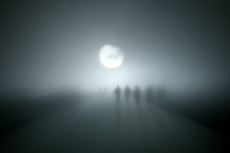 moon walker: Diffuse entities walking - added some digital noise Stock Photo