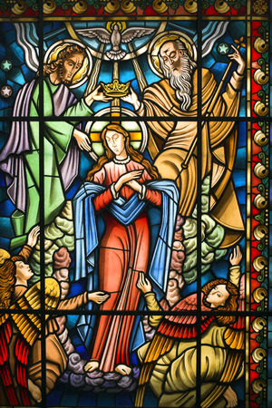 catholic stained glass: Catholic stained glass window from a church of the north of Portugal