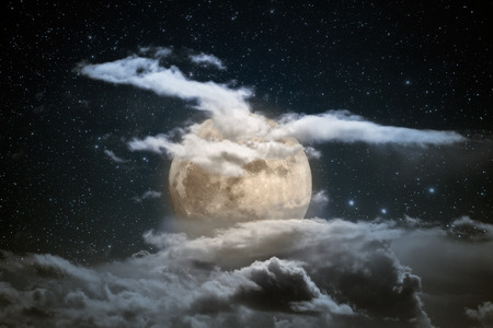 sky: Illustration of an interesting full moon in a cloudy night Stock Photo