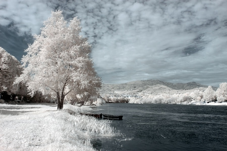 Romantic Lima river from the north of Portugal. Used infrared filter. photo