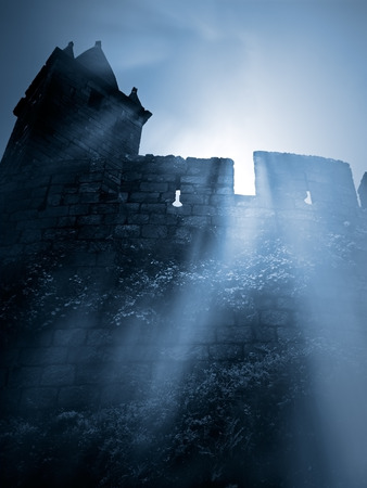 Moonlit gothic scenery with remote mysterious european medieval castle Stock Photo