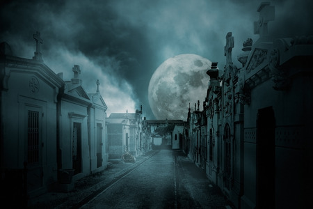 Street of an old european cemetery  in a full moon foggy night photo