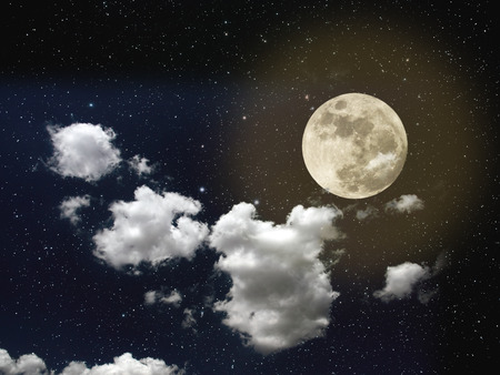 full moon: Night sky with stars, full moon and strong white clouds