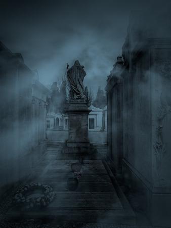 Dark and foggy old European cemetery