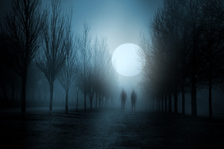 entities: Misty moonlit night with strange figures passing by