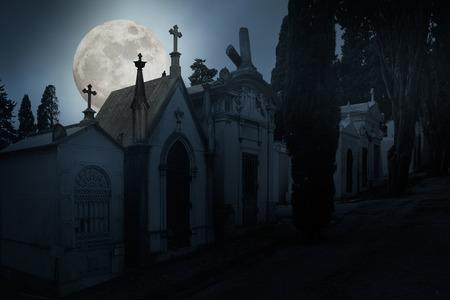 Full moon night cemetery. Halloween background.