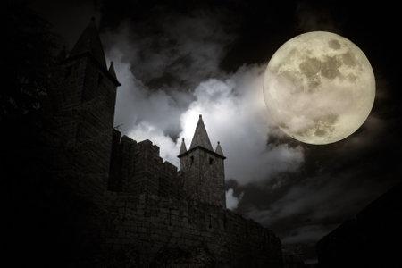 castillos: Castillo europeo medieval en una noche de luna llena. Alta algún ruido digital. Editorial