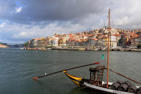 ribeira: Porto, Portugal - May 26, 2012: Colorful Oporto Ribeira by the morning. UNESCO site. Editorial