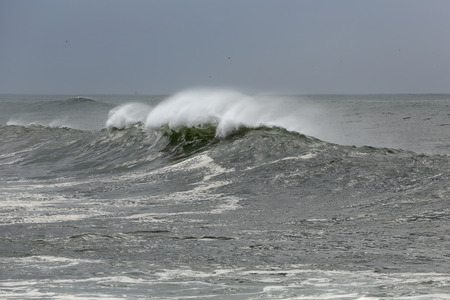 Strong windy white waves near the portuguese coast. Stock Photo