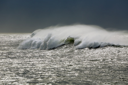 glistening: Great white wave approaching the coast in a glistening sea