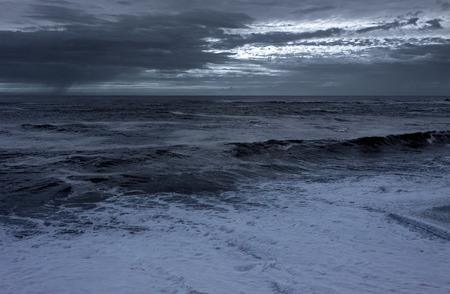 Infrared seascape. Toned blue. Vila do Conde, Portugal.