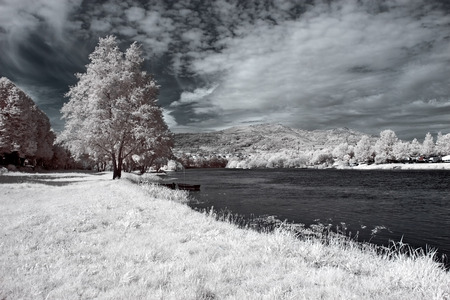 Lima riverbank. Ponte de Lima, north of Portugal. Infrared. photo