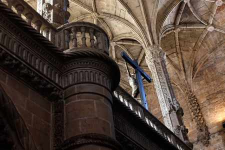 celling: Lisbon, Portugal - March 5, 2014: Christ, celling and column from Manueline style interior of Jeronimos Monastery, Belem