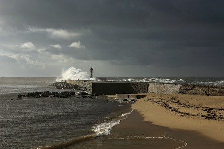 conde: Ave river mouth in a moody morning, Vila do Conde, north of Portugal