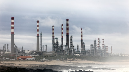 powerplant: Big oil refinery and powerplant near the coast