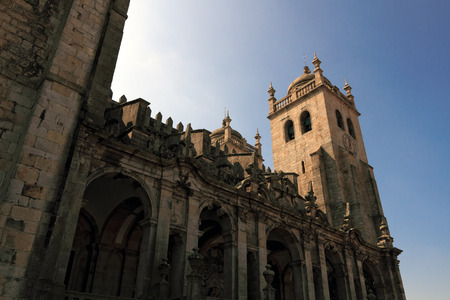 romanesque: Old Romanesque cathedral from Oporto Stock Photo