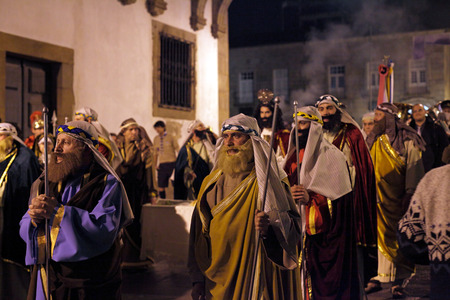 homo: Braga, Portugal - April 1, 2010: Figurants in the Holly Week  procession of Ecce Homo (High ISO photo) Editorial