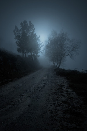 precipice: Misty mountain road that borders a precipice at night seeing rising moon Stock Photo