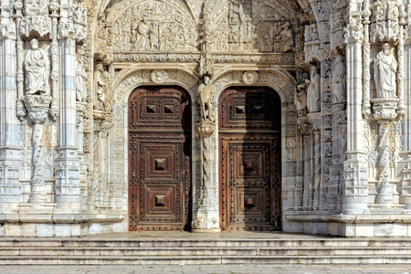 and the magnificent: Details of the magnificent stonework of the Jeronimos monastery entrance in Belem