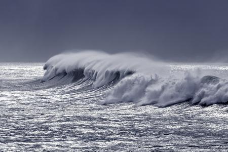 glistening: Beautiful big white wave in a glistening sea