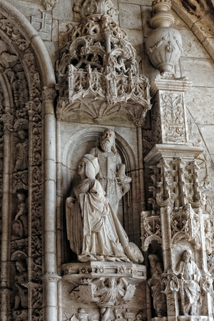 stonework: Details of the magnificent stonework of the Jeronimos monastery entrance in Belem, Lisbon, Portugal.