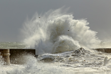 Big waves in a sunny storm. Portuguese north coast. Stock Photo