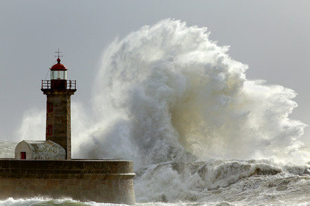 Big waves in a sunny storm. Portuguese north coast. Stok Fotoğraf