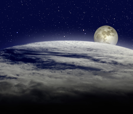 moonrise: Moonrise over cloudy earth planet