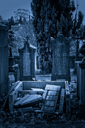 toned: Infrared old european cemetery. Toned blue. Stock Photo