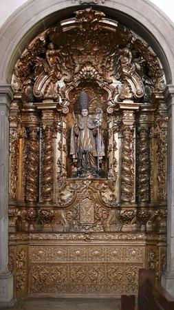 christian altar: Side altar of St. Nicholas church in Porto, Portugal,, dedicated to St. Nicholas, the true Christian father christmas. Editorial