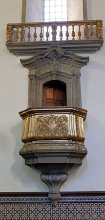 eighteenth: Porto, Portugal - March 4, 2015: One of the lateral pulpits of the old St. Nicholas church. Church from XVII century, rebuilt in the eighteenth century. Neoclassical and baroque style. Editorial