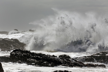 Winter sea storm at noon