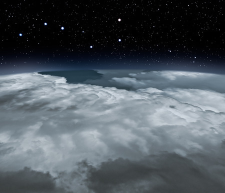 above clouds: Sky with stars viewed from above the clouds