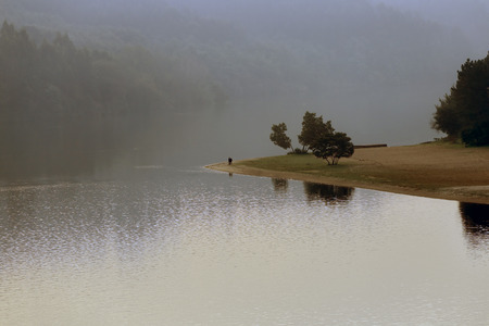 Douro river in a misty evening, north of Portugal photo